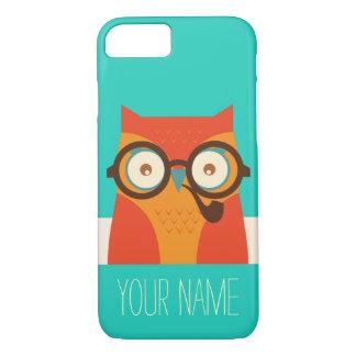 Cute Retro Vintage Funny Owl Monogram iPhone 7 Case