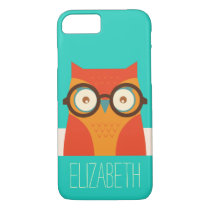 Cute Retro Vintage Owl Monogram iPhone 7 Case
