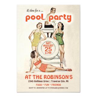 Cute Retro Vintage Pool Party Invitation