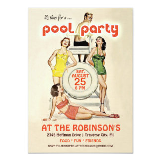 Cute Retro Vintage Pool Party Invitation