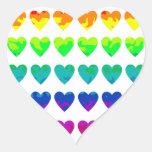 Cute retro wild rainbow hearts on white stickers heart sticker