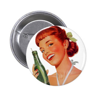 Cute Retro Young Woman with Pop Bottle Button