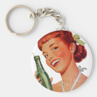 Cute Retro Young Woman with Pop Bottle Keychain