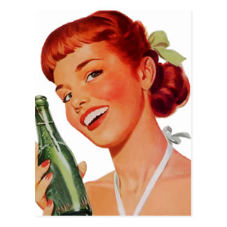 Cute Retro Young Woman with Pop Bottle Postcard