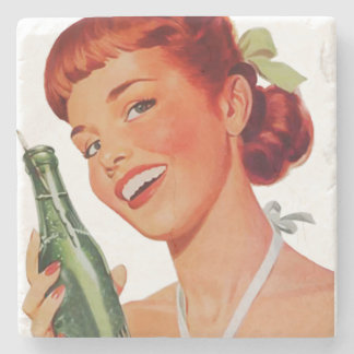Cute Retro Young Woman with Pop Bottle Stone Coaster