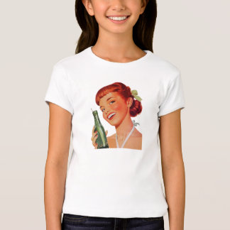 Cute Retro Young Woman with Pop Bottle T-Shirt
