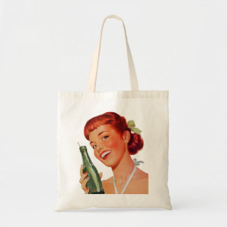Cute Retro Young Woman with Pop Bottle Tote Bag