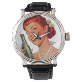 Cute Retro Young Woman with Pop Bottle Wrist Watches