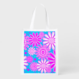 Cute Reusable Spring Flower Design Grocery Bags