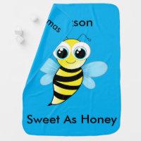 Cute Reversible Bumble Bee Bib Says Sweet As Honey Receiving Blanket