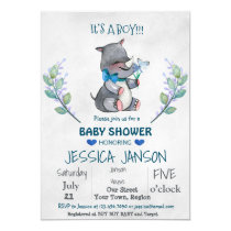 CUTE RHINO BOY BABY SHOWER INVITATION