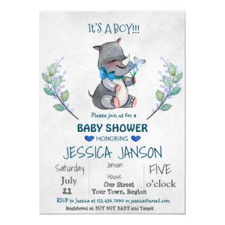 CUTE RHINO BOY BABY SHOWER INVITATION