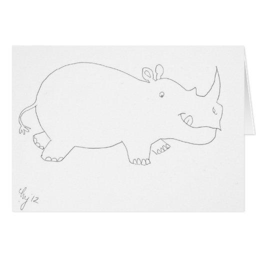 Line Drawing Rhino : Cute rhinoceros drawing