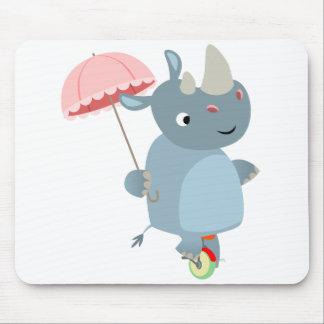 Cute Rhino with Umbrella on Unicycle Mousepad