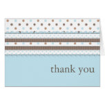 Cute Ribbon & Bow Thank You Card in Blue | Brown