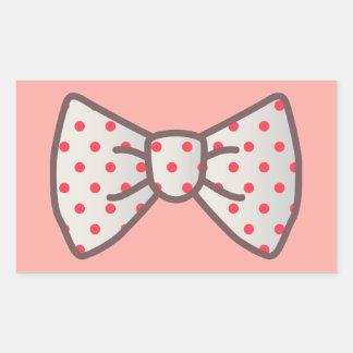 Cute Ribbon with Polka-dot Rectangular Sticker