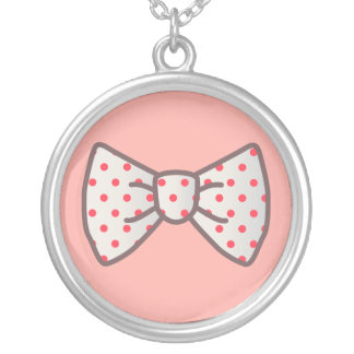 Cute Ribbon with Polka-dot Round Pendant Necklace
