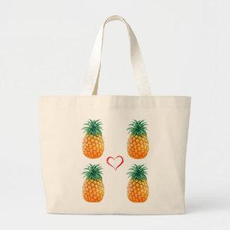 Cute ripe yellow pineapple tote bag