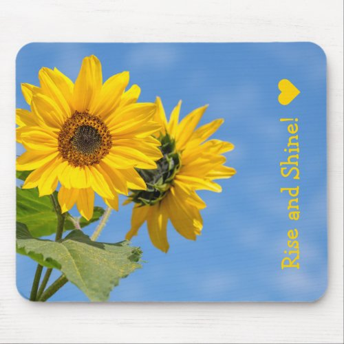 Cute Rise and Shine Sunflowers Upload Photo Text Mouse Pad