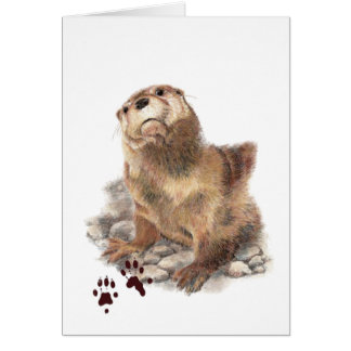 Cute River Otter, Animal Tracks, Wildlife Card