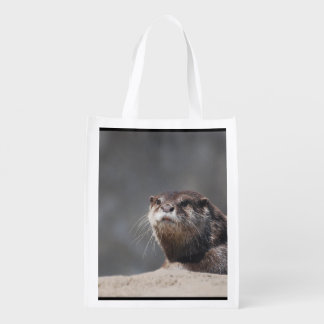 Cute River Otter Reusable Grocery Bags