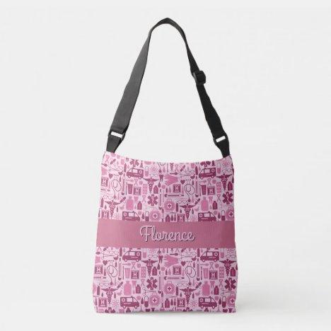 Cute RN Nurse LPN Nursing Pink Pattern Name Crossbody Bag