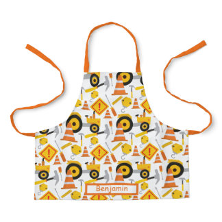 Cute Road Construction Yellow Orange Kids Graphic Apron