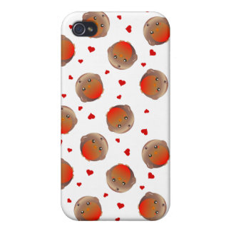 Cute Robin and Red Hearts Design iPhone 4/4S Cases