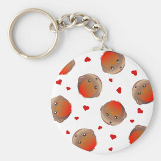 Cute Robin and Red Hearts Design Key Chains