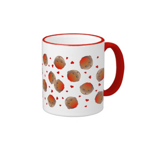 Cute Robin And Red Hearts Design Ringer Coffee Mug Zazzle