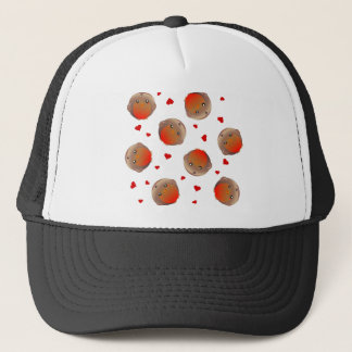 Cute Robin and Red Hearts Design Trucker Hat