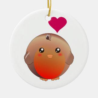 Cute Robin Bird Ceramic Ornament