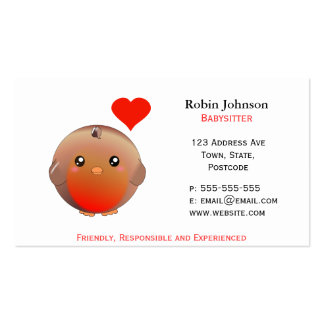 Cute Robin Bird childcare / animal care Business Card
