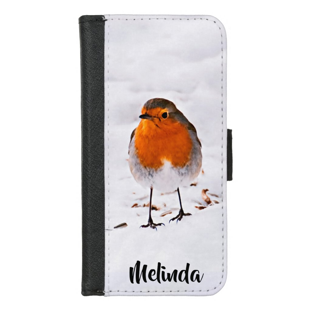 Cute Robin bird in snow add your name iPhone 8/7 Wallet Case