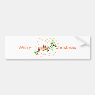 Cute Robin family Christmas Holiday greetings Bumper Sticker