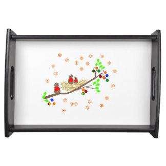 Cute Robin family Christmas Holiday Serving Platter