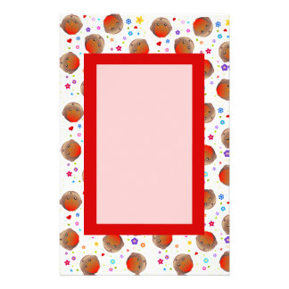 Cute Robin Red Breast Pattern Stationery Design