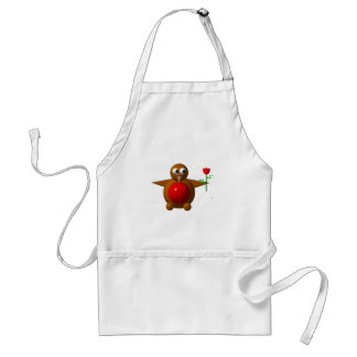 Cute robin with a rose adult apron