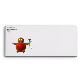 Cute robin with a rose envelope