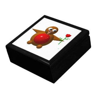 Cute robin with a rose keepsake box