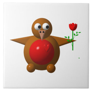 Cute robin with a rose large square tile