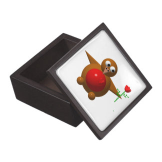 Cute robin with a rose premium keepsake box