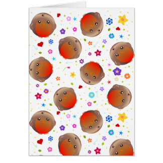 Cute robins and flowers pattern card