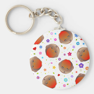 Cute robins and flowers pattern key chain