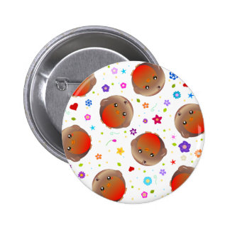 Cute robins and flowers pattern pinback button