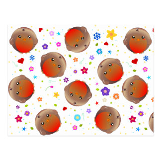 Cute robins and flowers pattern postcard