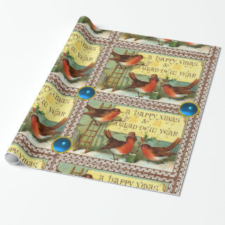 CUTE ROBINS ,CHRISTMAS GREETINGS WITH BLUE GEMS WRAPPING PAPER