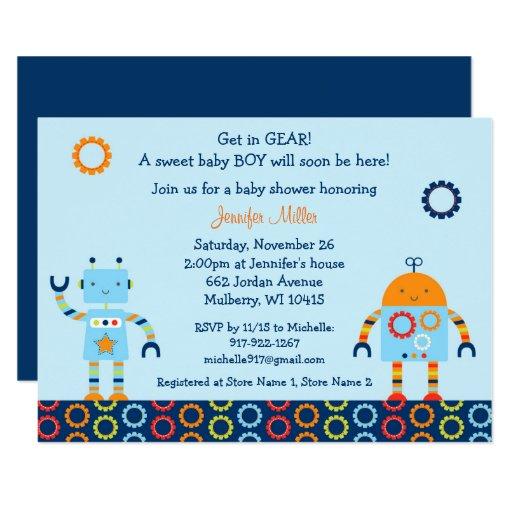 Cute Robot Baby Shower Card