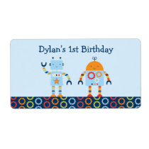 Cute Robot Baby Shower Party Favor Label