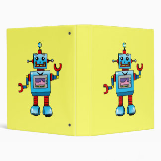 cute robot, back to school 3 ring binder